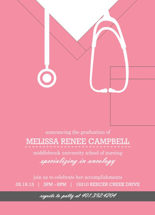 Pink Scrubs Nursing School (Set) Graduation Invitation by PurpleTrail.com