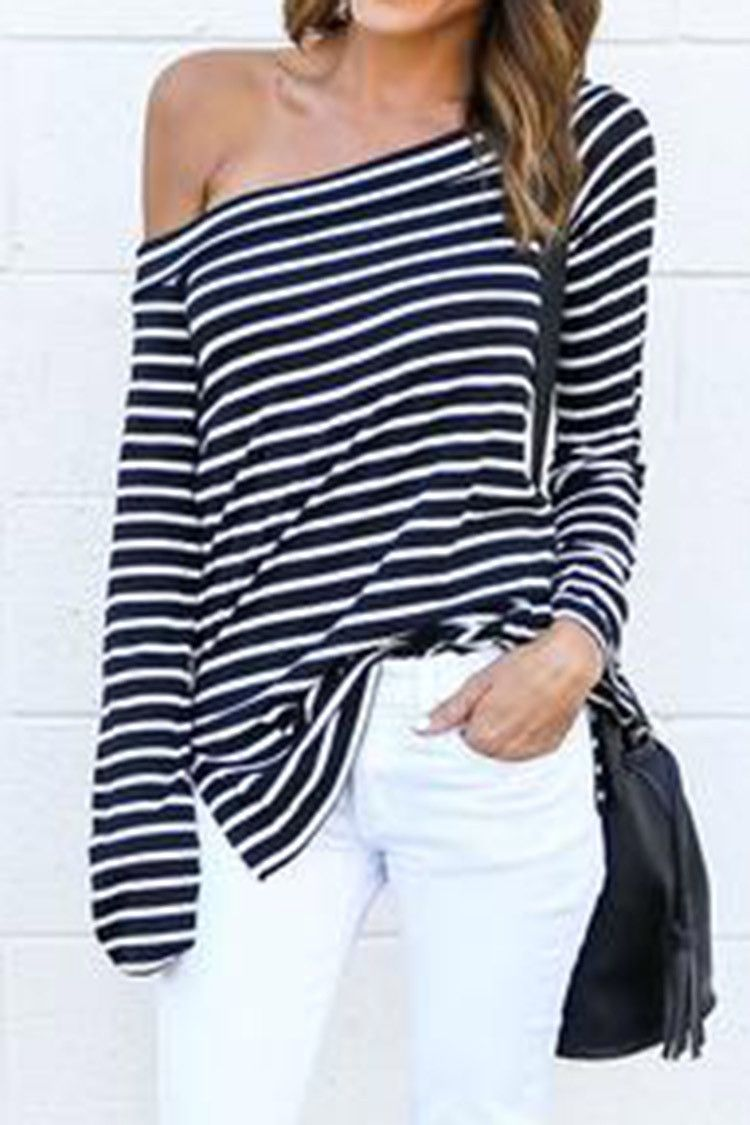 #AdoreWe #CupShe Designer Top - Designer CupShe Have One Day Off The Shoulder Stripe Top - AdoreWe.com