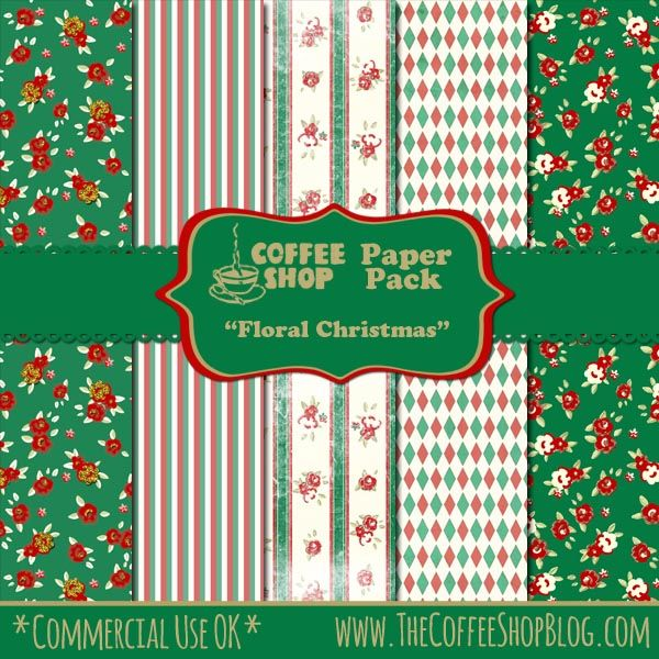 Christmas Floral Paper Christmas Digital Paper Christmas Paper Craft Winter Digital Paper Personal /& Commercial Use Berry Pattern