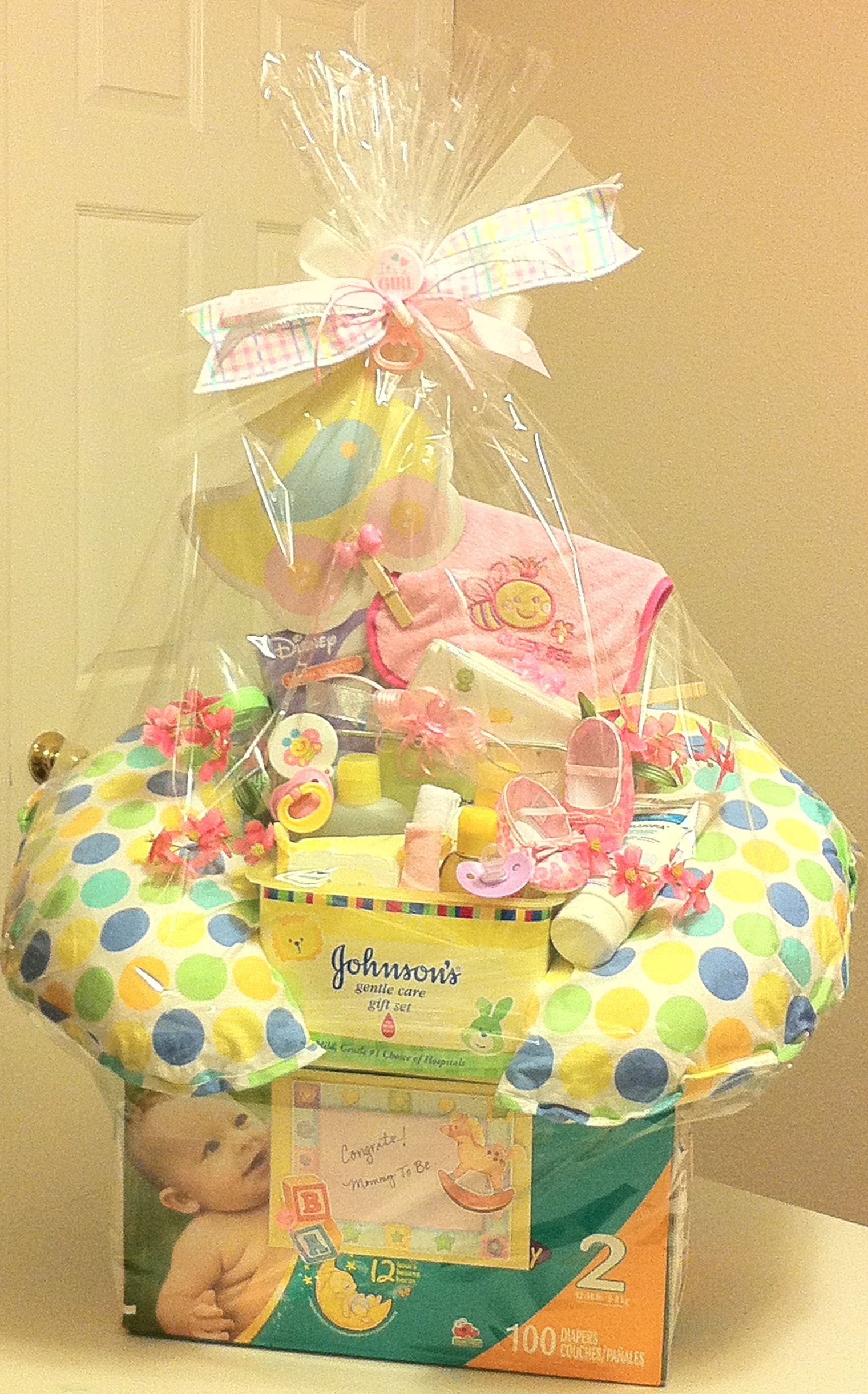 Baby Girl Unique Gift Basket good idea to use the empty diaper