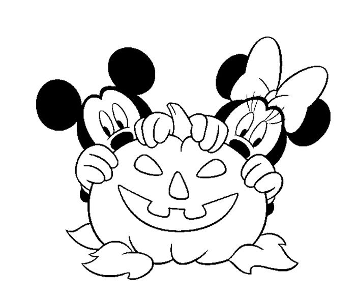 Mickey And Minnie Disney Halloween Coloring Page