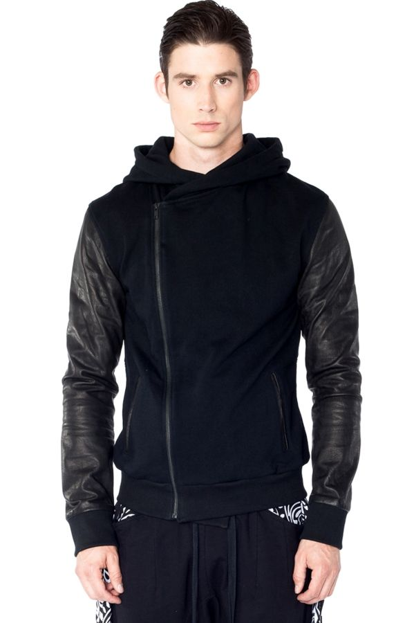 Druid hoodie made of cotton fleece and supple leather sleeves. Double  breasted style hoodie zips