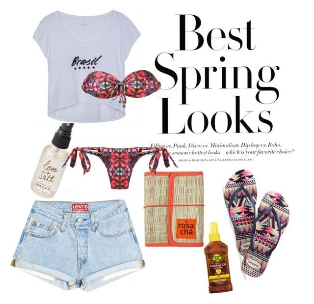 """""""Spring Break : let's jump in the ocean!"""" by jessbotelho on Polyvore featuring Olivine, H&M, Banana Boat, Havaianas and Caia"""