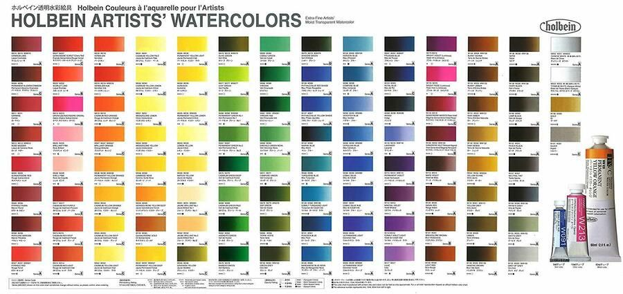 Details About Holbein Artists Transparent Watercolor 24 Colors Set