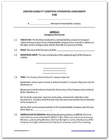 Free Llc Operating Agreement, Available As A Word Doc Or Pdf | Diy