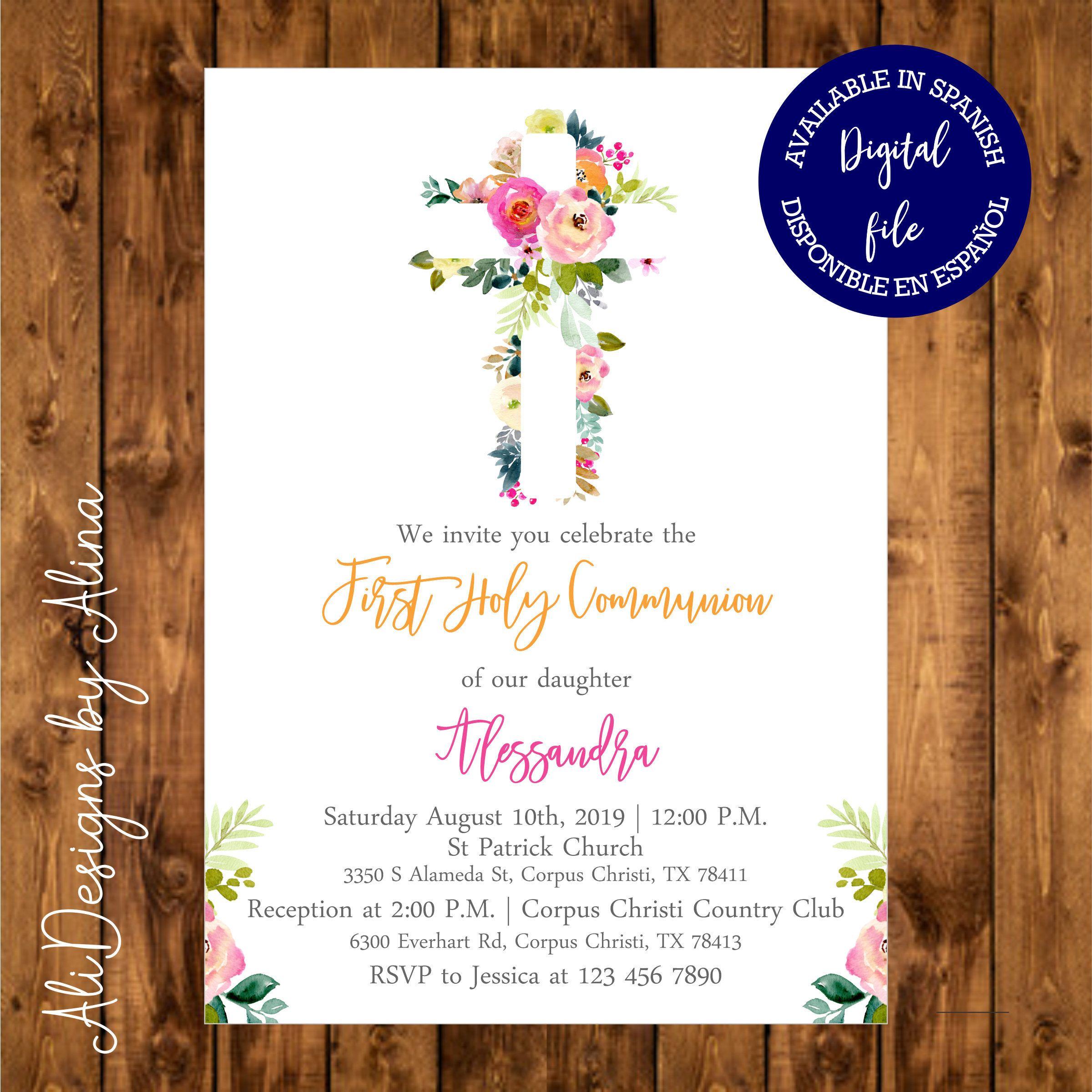 Holy Communion invitation for girl Holy communion