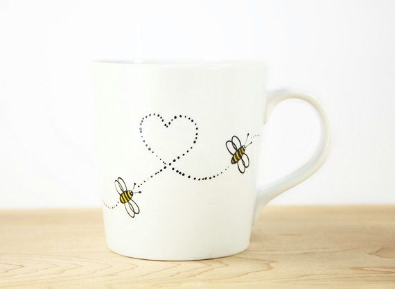 Items similar to Hand Painted White Ceramic Mug Hello Honey Honey Bee white kitchen decor Decorative Art- made to order on Etsy