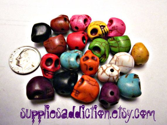 Skull Ceramic Beads  20X 12 mm Mix Colors for by SuppliesAddiction