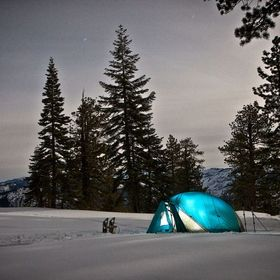 Winter backpackers are camped near Dewey Point in Yosemite ...