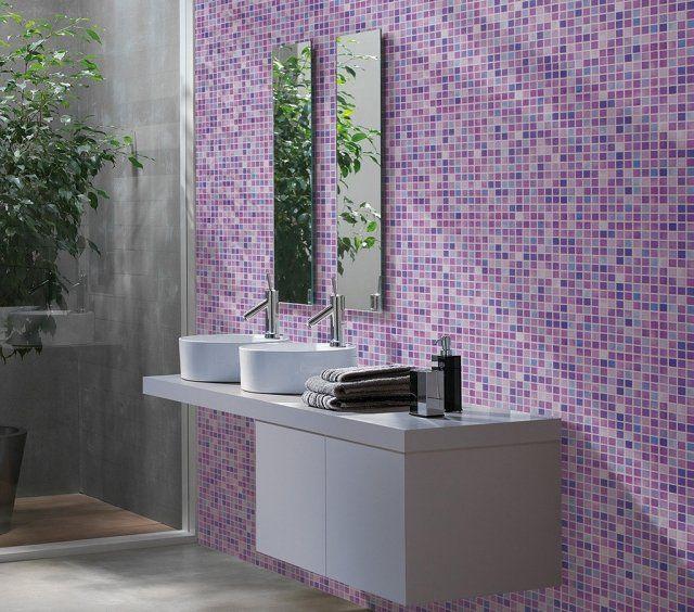 salle bains moderne mosaique murale rose pourpre vasques rondes blanches meuble blanc photos de salle de bains