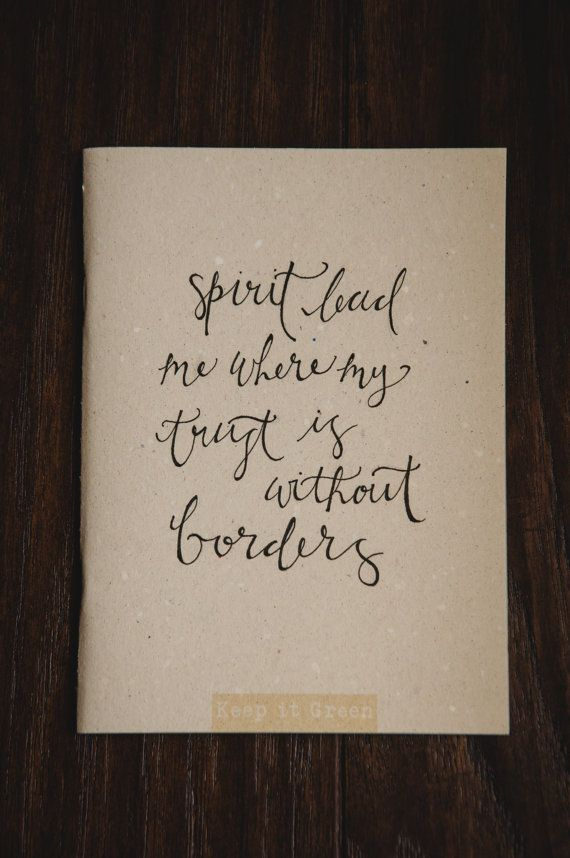 Handlettered Lyric Journal Spirit lead me where my by QuoteKeeper, $10.00 | Etsy
