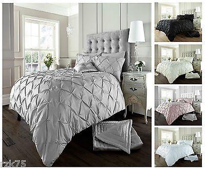 Diamond Pintuck Duvet Cover Set With Pillow Cases Luxury Bed Linen Quilt Sets Pintuck Duvet Cover Pillow Case Bed Bed Linens Luxury