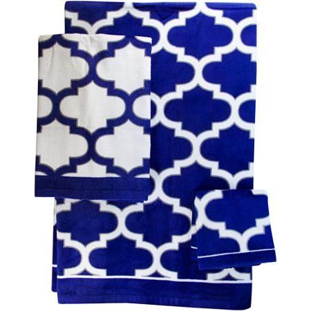 Mainstays Fretwork Hand Towel NavyWhite House Ideas - Navy towels for small bathroom ideas