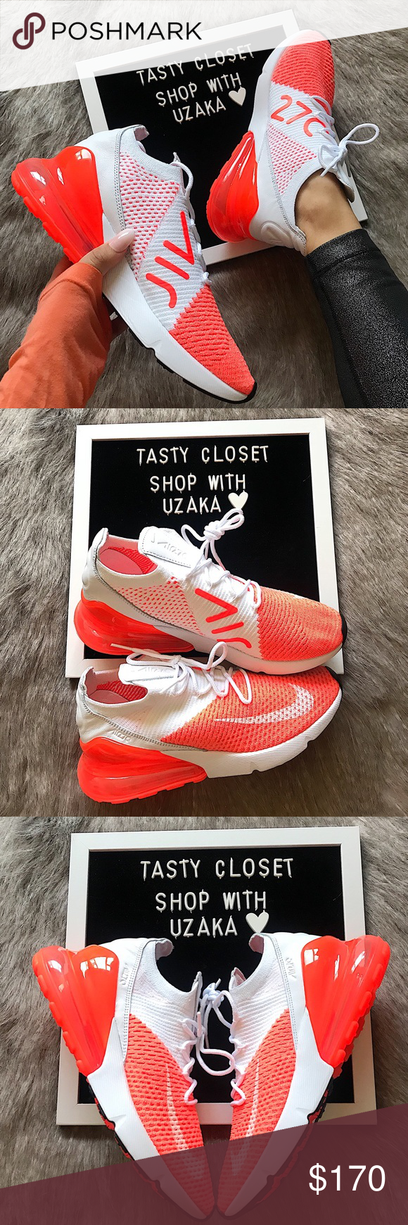 pretty nice 89c41 a5556 Nike air max 270 flyknit sneakers Nike air max 270 flyknit sneakers New  with box Crimson pulse white Nike Shoes Sneakers