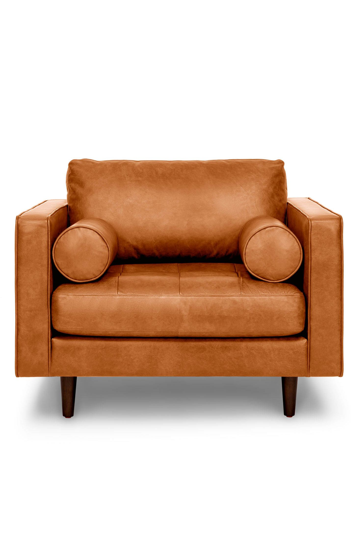 Tan Leather Tufted Chair Upholstered