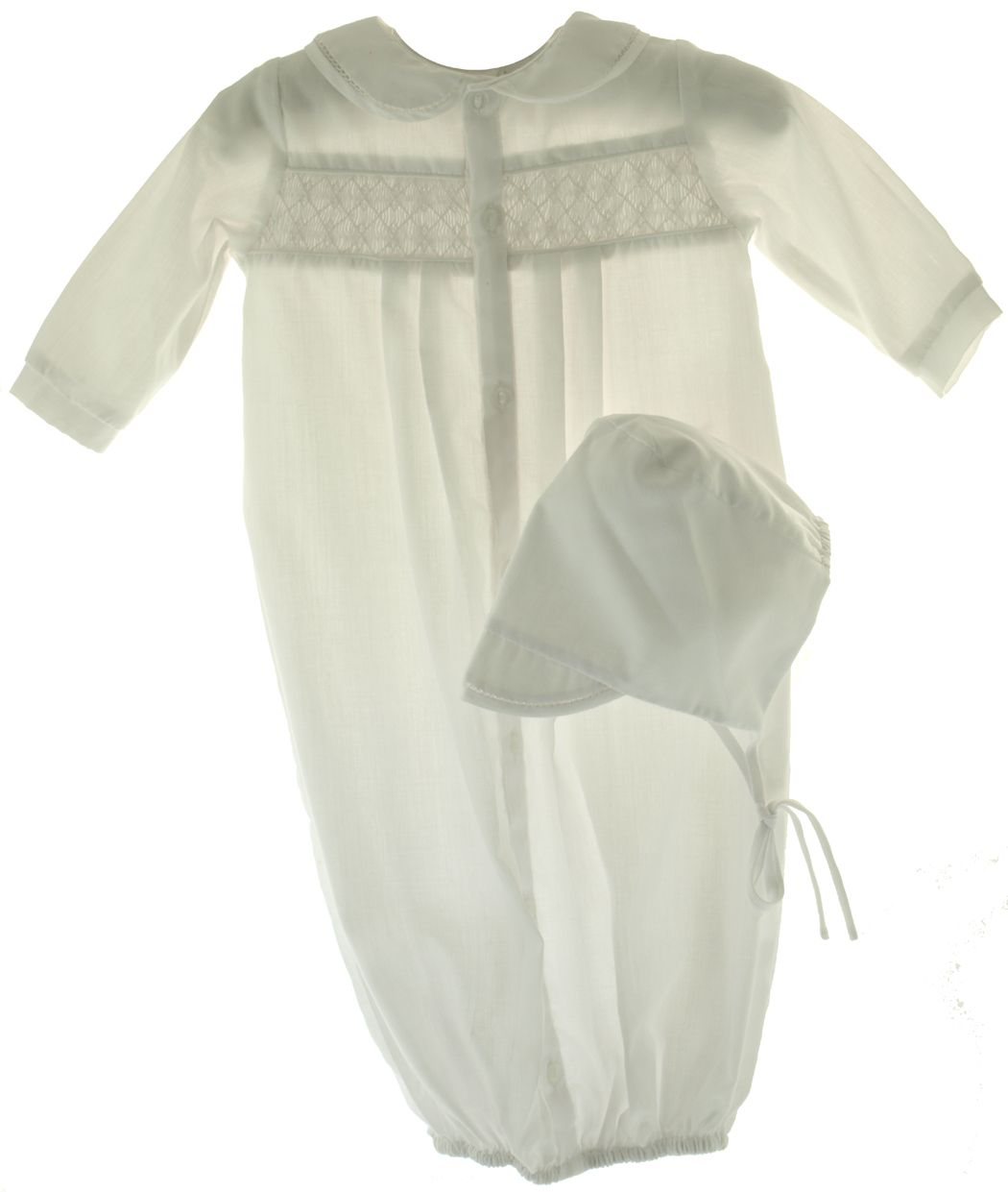 Newborn Baby Boys White Smocked Take Home Gown & Bonnet Petit Ami ...