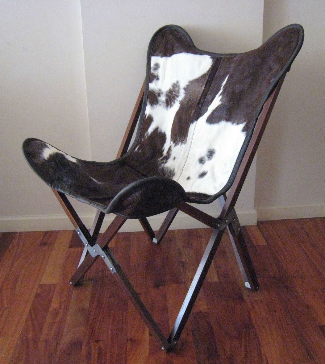 original butterfly chair tripo hand made wooden frame cowhide cover cow skin hide chairs 565. Black Bedroom Furniture Sets. Home Design Ideas