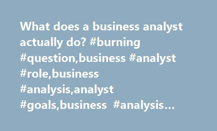 What Does A Business Analyst Actually Do Burning Question