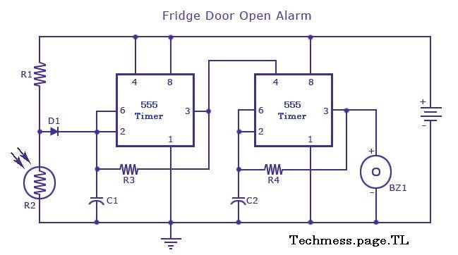 555 timer fridge door alarm techmess pinterest door alarms rh pinterest com 555 Timer Circuit Board 555 Timer Circuits Projects