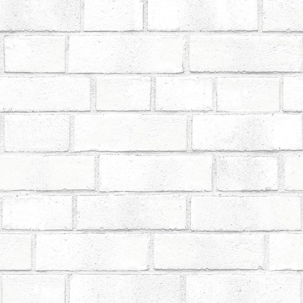 Tempaper Textured Brick White Peel and Stick Wallpaper 56