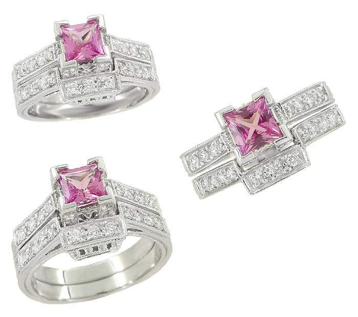 Halo Princess Cut Engagement Rings Pink 40