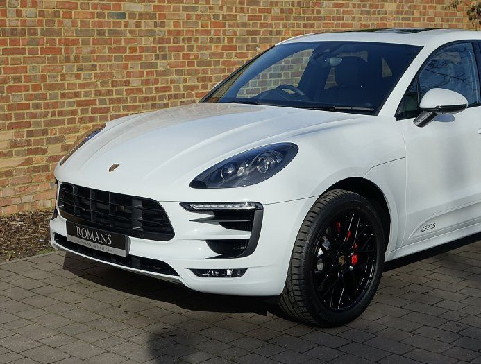 Porsche Macan Gts White With Black Rims And White Side