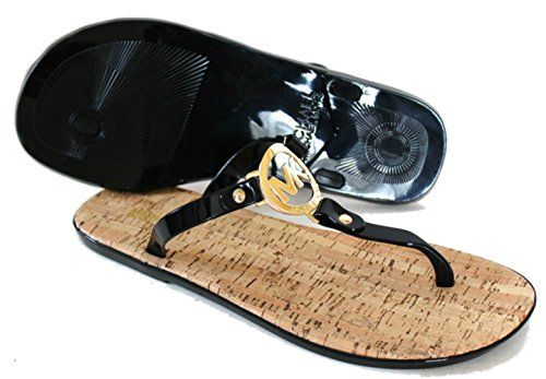 a15c3b728bb MICHAEL Michael Kors MK Charm Jelly Thong Sandal 6 BM US Black >>> Read  more at the image link.