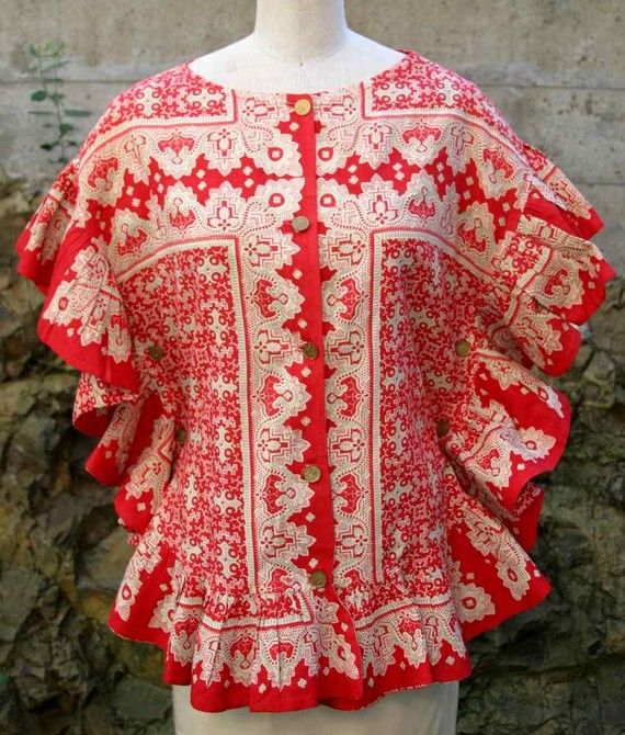 Vintage 60s Lila Bath Original Mexican Red Ruffle Poncho Top / by theSidewalkRunway on Etsy