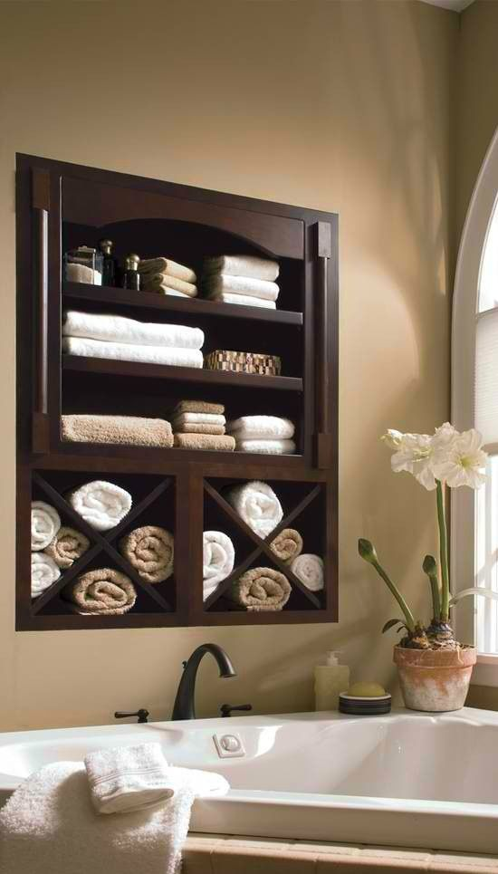 Built in Bathroom Towel Shelf | My Dream Home | Wall ...