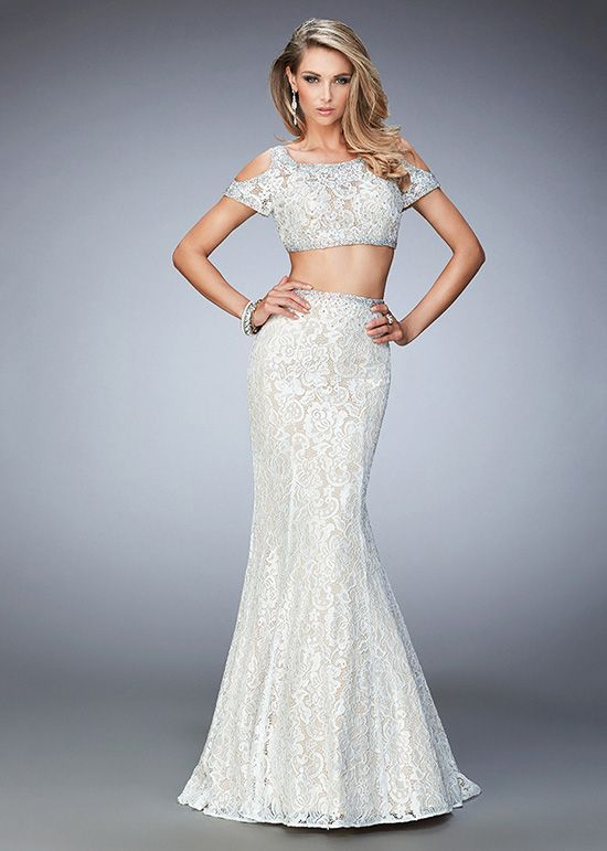 Chic Short Open Sleeve Two Piece White Nude Mermaid Prom Dress ...