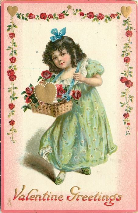VALENTINE GREETINGS girl in green dress carries basket of red roses & gilt heart, slung by blue ribbon