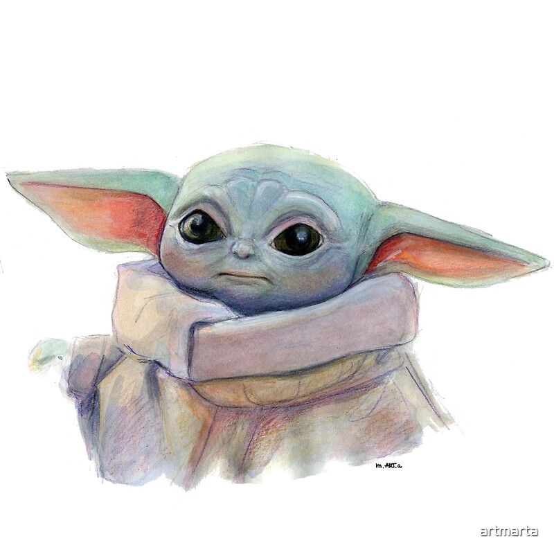 Baby Yoda Watercolor Yoda Art Yoda Artwork Yoda Drawing
