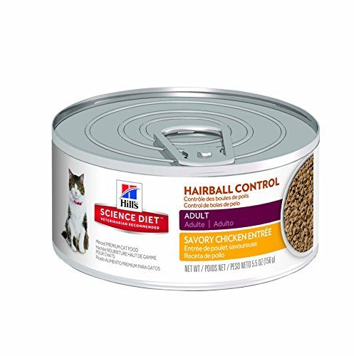 Hills Science Diet Adult Hairball Control Savory Chicken Entree Minced Cat Food 55ounce Can 24pack See Thi Canned Cat Food Hills Science Diet Best Cat Food
