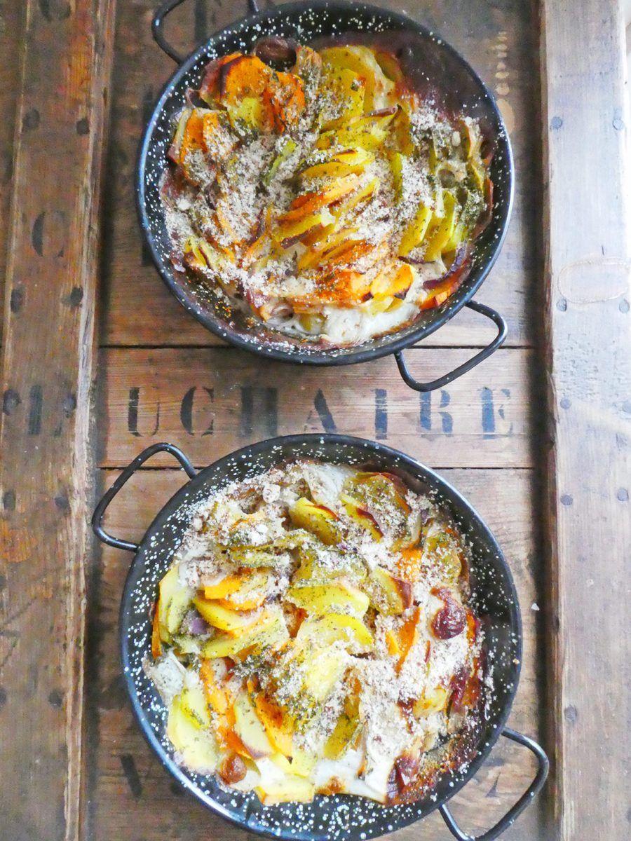 Gratin végétal de pommes de terre et butternut ( Vegan ...