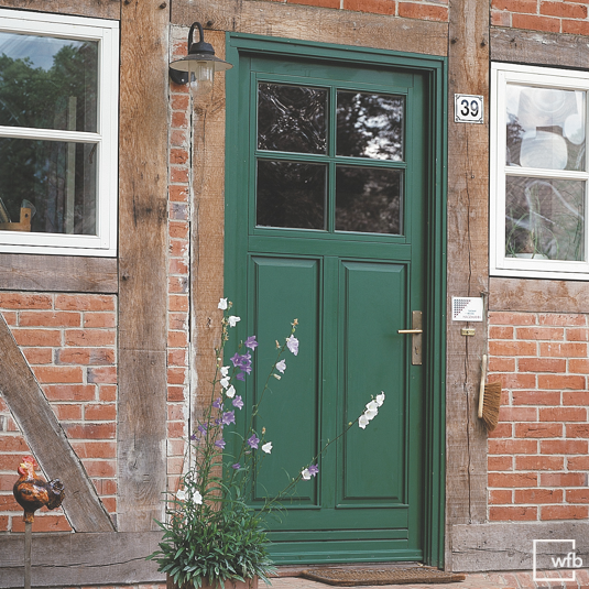 Front doors made of wood, inwards, outwards, two-winged, Danish, glass