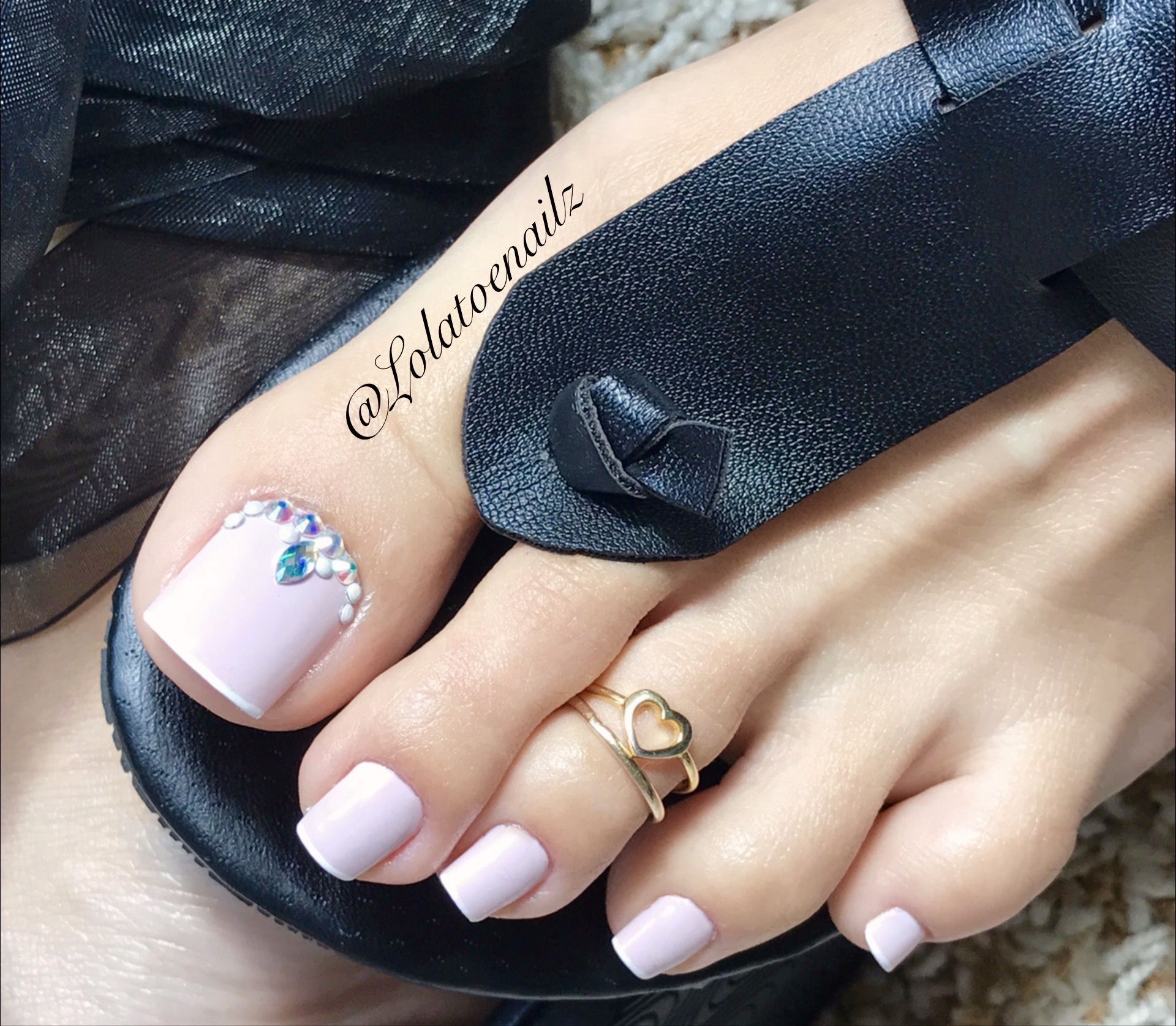 French Pedicure with design stones | Toe nail designs. | Pinterest