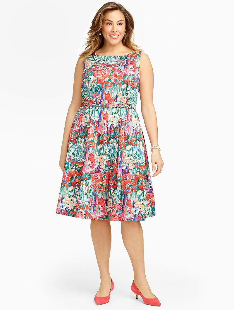 Talbots - Impressionist Floral Fit-And-Flare Dress | 30% Off Dresses, Footwear & Accessories | Woman