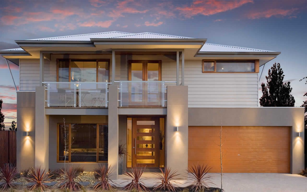 Double story facade render down cladding up houses for Double storey house plans with balcony
