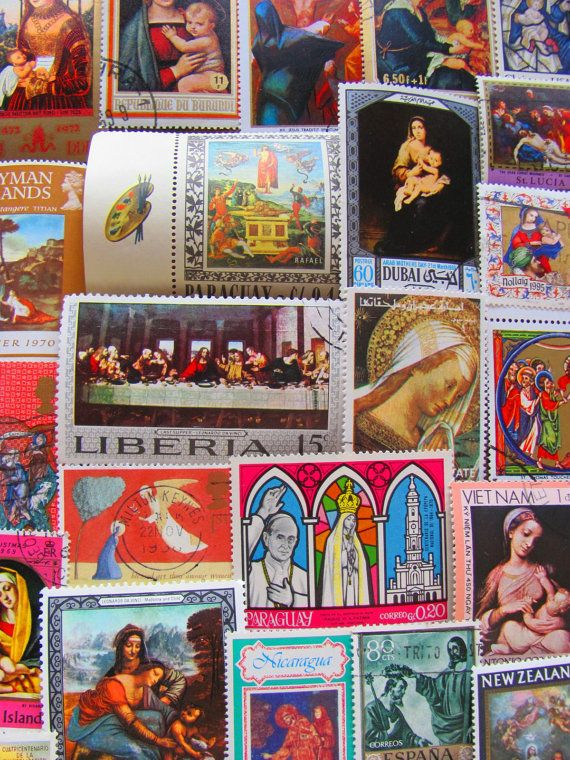 50 Vintage Religious Postage Stamps Christian by preciousowl