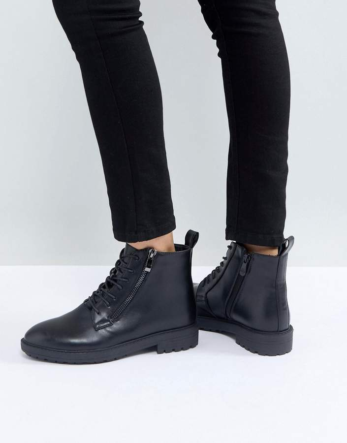 cba8fdc788daa RAID Miley Black Zip Detail Flat Ankle Boots in 2019 | One shoulder ...