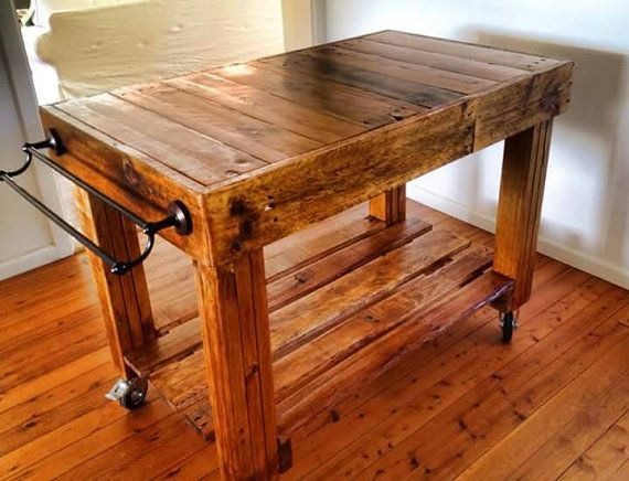 Butchers Block Style Island Bench / Rustic / on Castor Wheels / inbuilt knife block and towel ...
