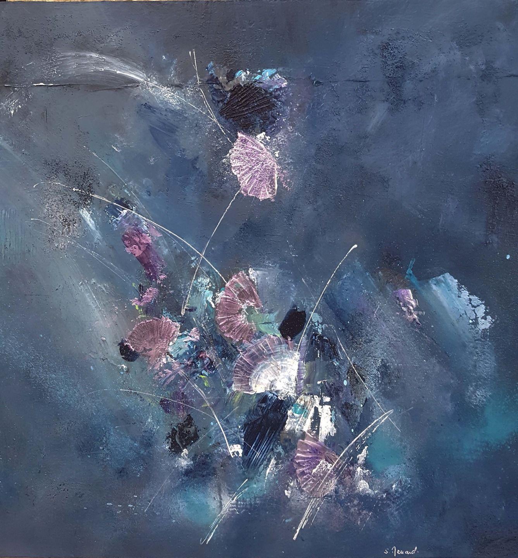 Peinture moderne acrylique et mati re bleu vert violet - Peinture murale effet nacre ...