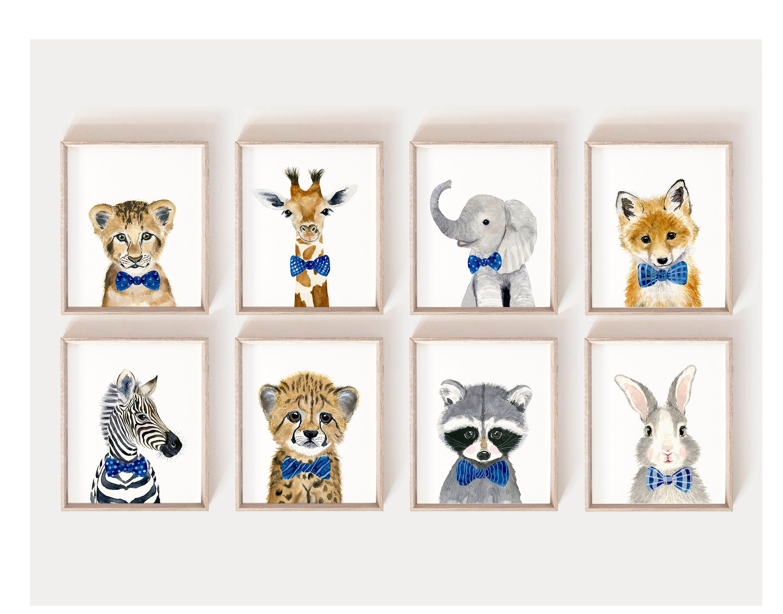 Baby Animal prints, Nursery Print Set 8, Safari Nursery