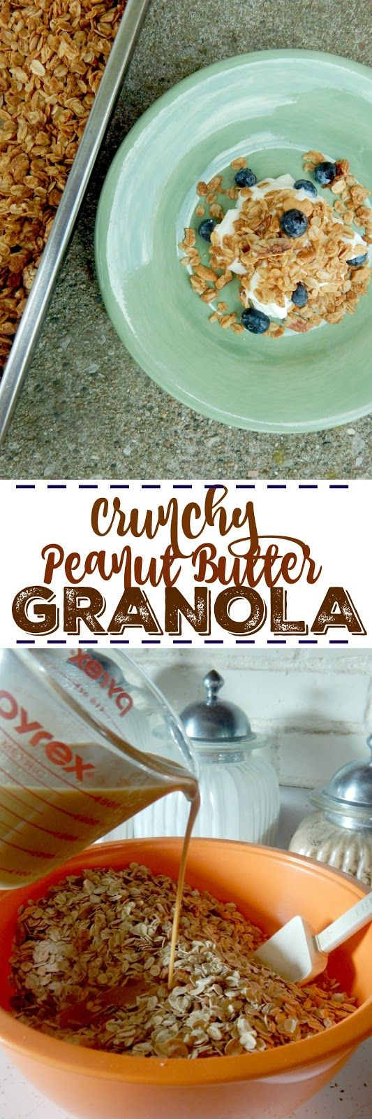 Crunchy Peanut Butter Granola...hey peanut butter lovers this one is for you!  Chopped pecans and cashews plus melted peanut butter make this granola incredible!
