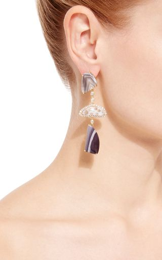Banded Agate, Coral Fossil And Boswood Agate Earrings by LAURA PIERSON for Preorder on Moda Operandi