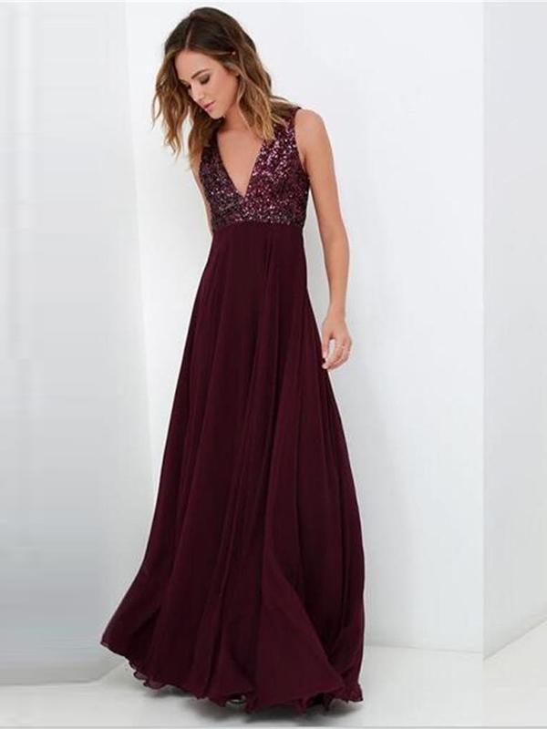 b725b5d9d00 2018 Chic Burgundy Prom Dre... 2018 Chic Burgundy Prom Dress Modest Cheap  Simple Long Prom Dress  VB1534 Wedding Party Dresses