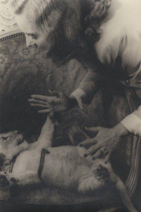 Tallulah Bankhead with her pet lion, Winston Churchill, 1941.    Photos by Carl Van Vechten.