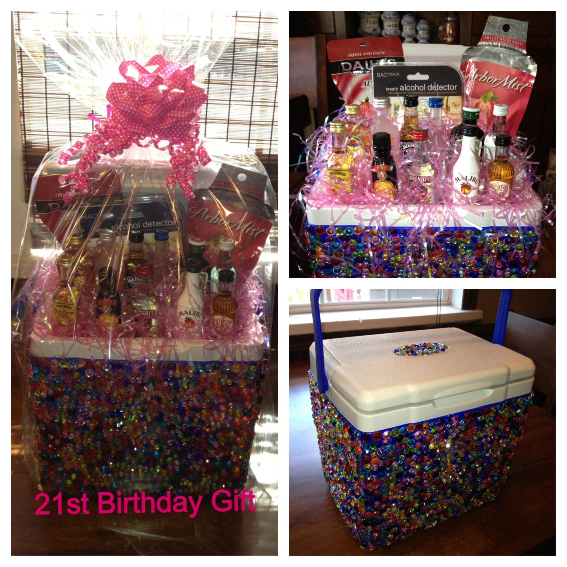 Made This For My Sister Who Is Turning 21 Bedazzled Cooler With A Alcohol Detecter And Little Liquor Bottles Enjoy