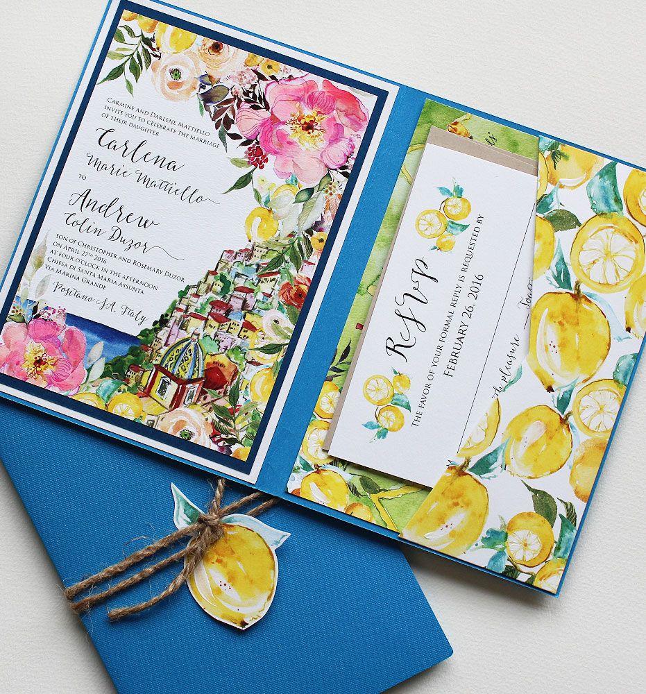 A Peek into the Studio Watercolor Amalfi Wedding Invitations – Studio Cards Wedding Invitations