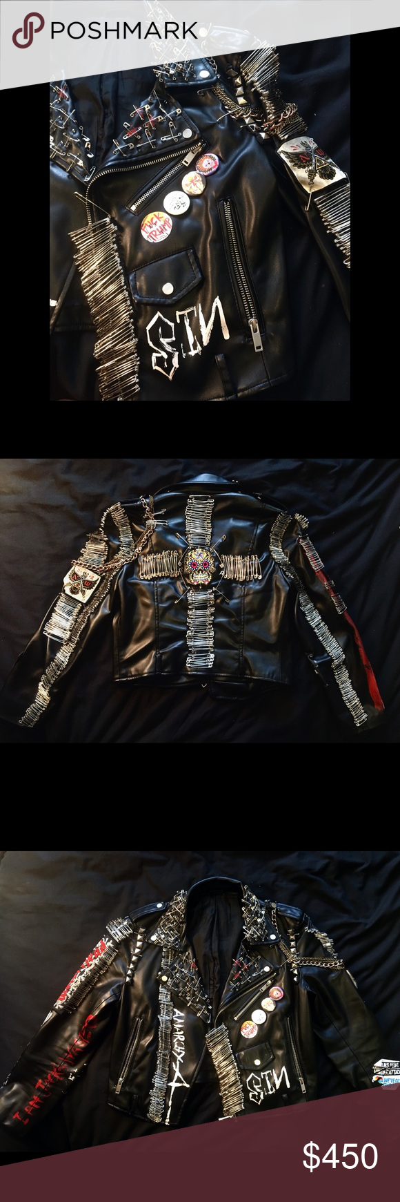 Motorcycle Jacket with Safety Pin Design Safety pin